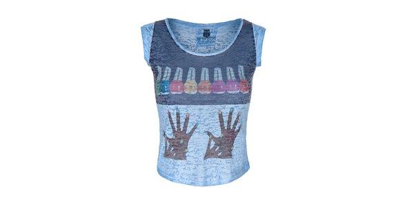 Dámske modré tričko s farebným obrázkom Me Da Igual
