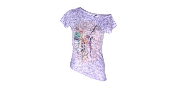 Dámsky fialový top s asymetrickým spodným lemom Me Da Igual