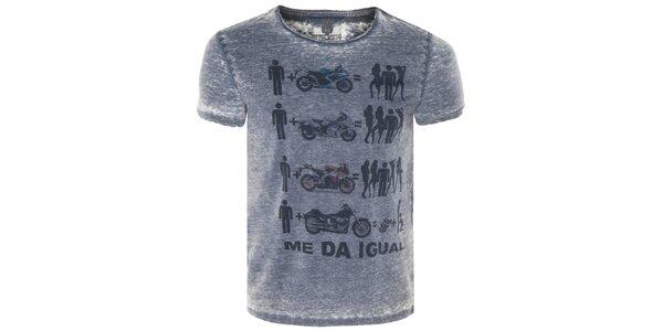 Pánske modré tričko s motorkami Me Da Igual