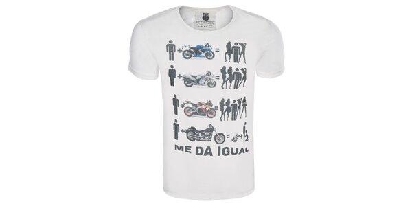 Pánske krémové tričko s motorkami Me Da Igual