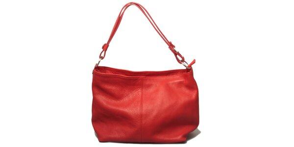 Dámska červená kabelka s jedným uchom Leonardo Farnesi