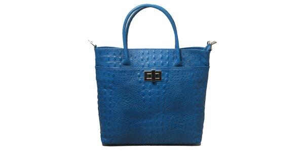 Dámska modrá kabelka s motívom krokodílej kože Leonardo Farnesi