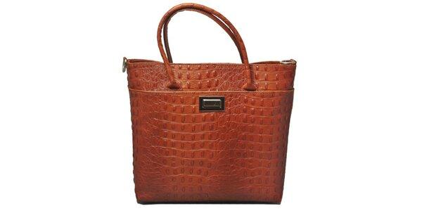 Dámska koňakovo hnedá kabelka s motívom krokodílej kože Leonardo Farnesi