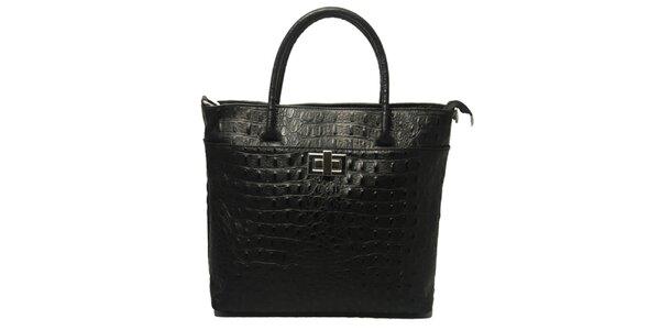 Dámska čierna kabelka s motívom krokodílej kože Leonardo Farnesi