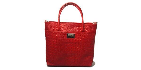 Dámska červená kabelka s motívom krokodílej kože Leonardo Farnesi