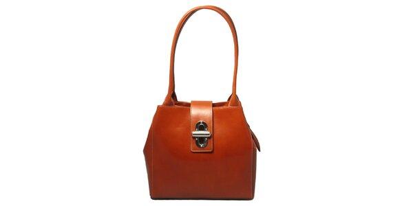 Dámska koňaková kabelka so zámčekom Leonardo Farnesi