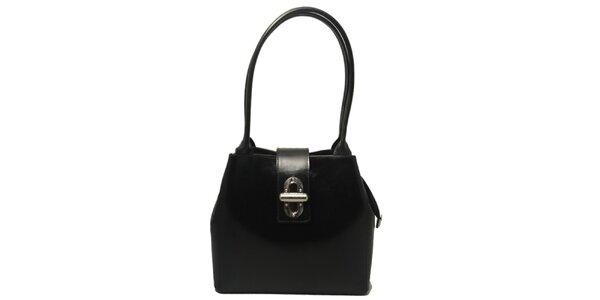 Dámska čierna kabelka so zámčekom Leonardo Farnesi
