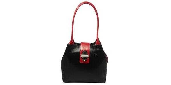 Dámska čierna kabelka s červenými lemami a zámčekom Leonardo Farnesi