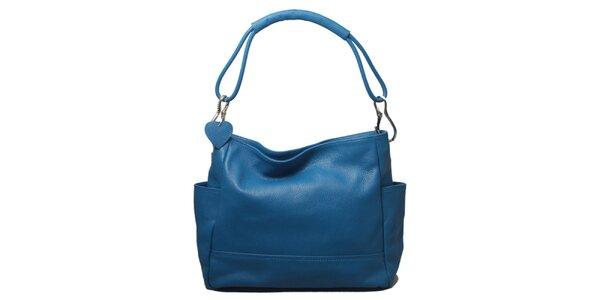 Dámska modrá kabelka s jedným popruhom Leonardo Farnesi