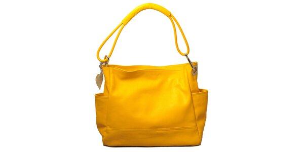 Dámska žltá kabelka s jedným popruhom Leonardo Farnesi