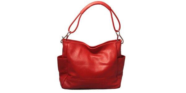 Dámska červená kabelka s jedným popruhom Leonardo Farnesi