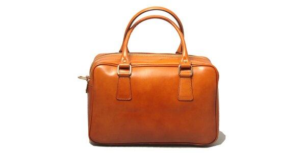 Dámska kožená kabelka v koňakovo hnedej farbe Leonardo Farnesi