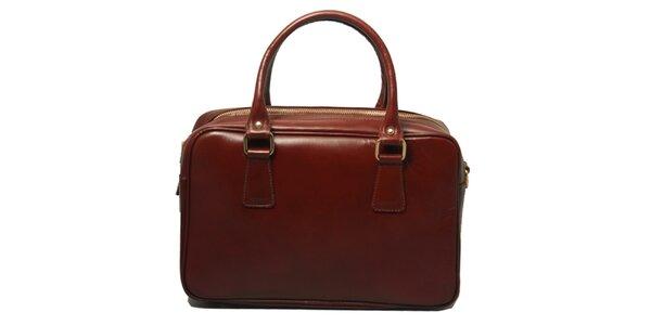 Dámska kožená kabelka v tmavo hnedej farbe Leonardo Farnesi