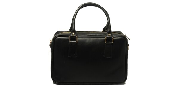 Dámska kožená kabelka v čiernej farbe Leonardo Farnesi