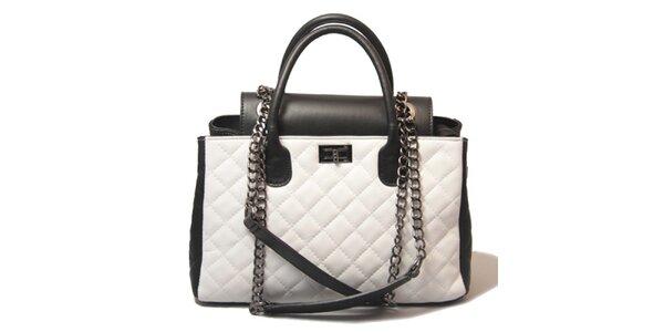 Dámska bielo-čierna prešívaná kabelka Leonardo Farnesi