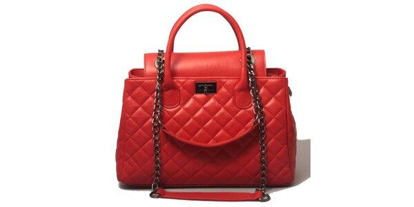 Dámska červená prešívaná kabelka Leonardo Farnesi