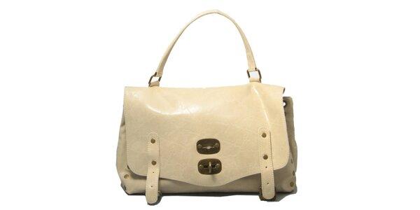 Dámska krémová kabelka so zámčekom Leonardo Farnesi