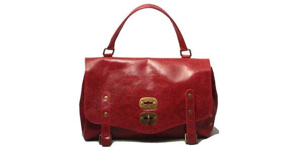 Dámska červená kabelka so zámčekom Leonardo Farnesi