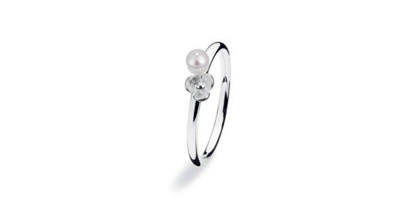 Dámsky prsteň s perličkou a kvetinkou Spinning
