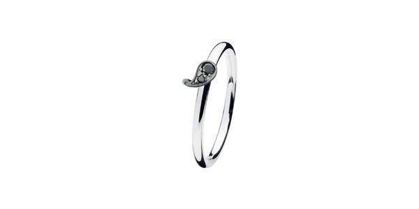 Dámsky prsteň s čiernou kvapkou Spinning