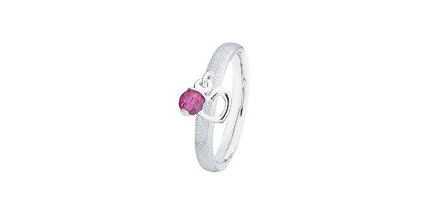 Dámsky trblietavý prsteň s fialovým kamienkom Spinning