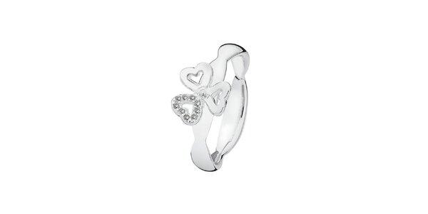 Dámsky zaujímavý prsteň so srdiečkami Spinning