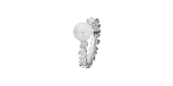 Dámsky prsteň s kvietkami a perlou Spinning
