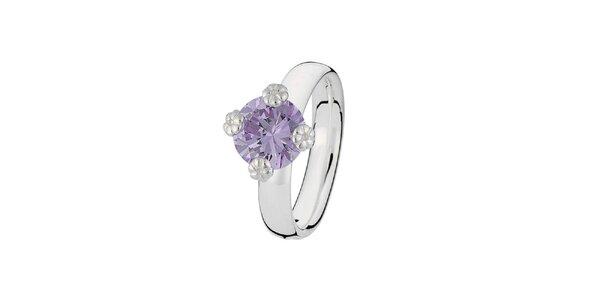 Dámsky prsteň s fialkovým kamienkom Spinning