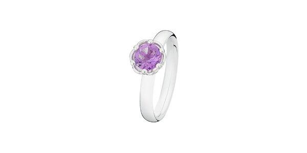 Dámsky prsteň s fialkovým kamienkom v tvare kvietku Spinning