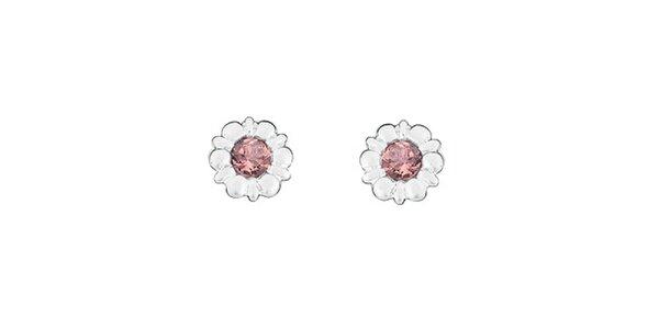 Dámske kvetinové náušnice s ružovými kamienkami Spinning