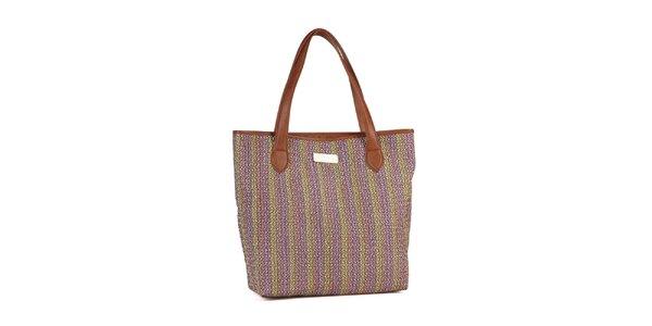 Dámska hnedo-fialová vypletaná kabelka Steve Madden