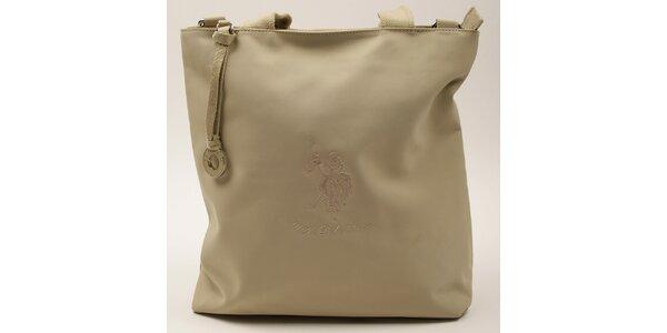 Dámska obdĺžniková béžová kabelka U.S. Polo