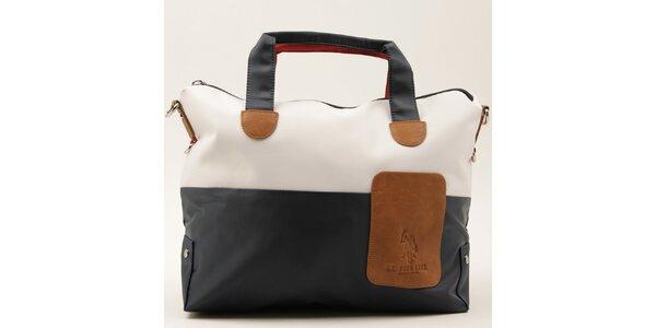 Dámska dvojfarebná kabelka s červeným uchom U.S. Polo