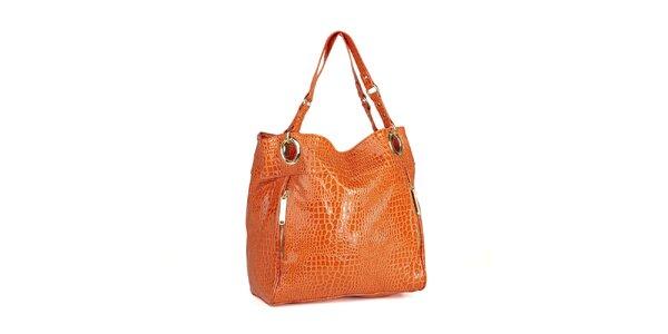 Dámska oranžová lakovaná kabelka Steve Madden s hadím vzorom