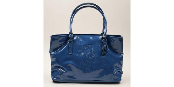 Dámska modrá lesklá podlhovastá kabelka U.S. Polo