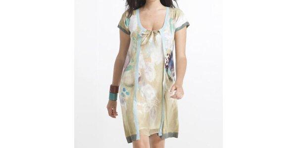 Dámske béžové šaty s farebnými lemami Coquette