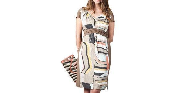 Dámske hnedé šaty so vzorom Coquette