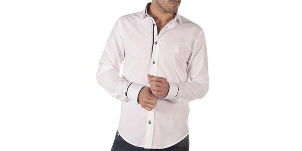 Pánska biela košeľa s tmavými detailmi CLK