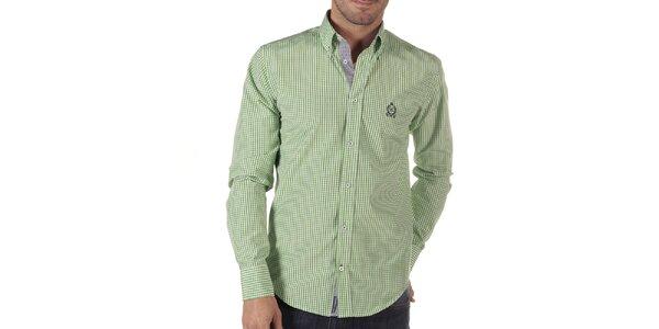 Pánska zeleno kockovaná košeľa s dlhým rukávom CLK