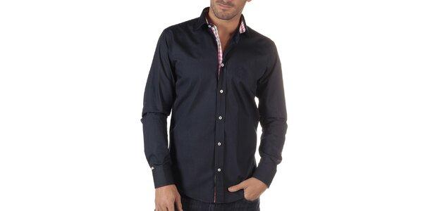Pánska tmavo modrá košeľa s kockovanou légou CLK