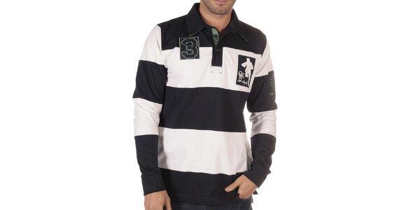 Pánske čierno-biele pruhované polo tričko s dlhým rukávom CLK