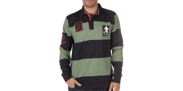 Pánske čierno-zelené pruhované polo tričko s dlhým rukávom CLK