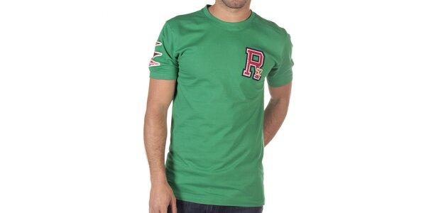 Pánske zelené tričko s písmenom na hrudi CLK