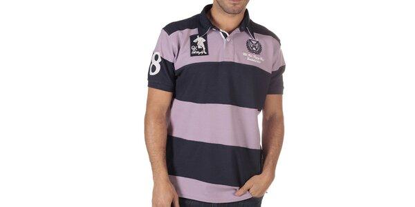Pánske fialové pruhované polo tričko CLK