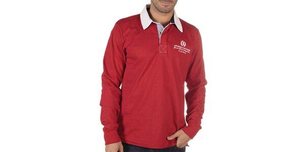 Pánske červené polo tričko s dlhým rukávom CLK