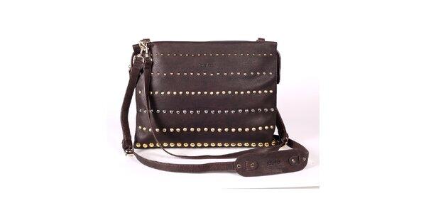 Dámska hnedá kabelka s ozdobnými cvokmi Kate Lee