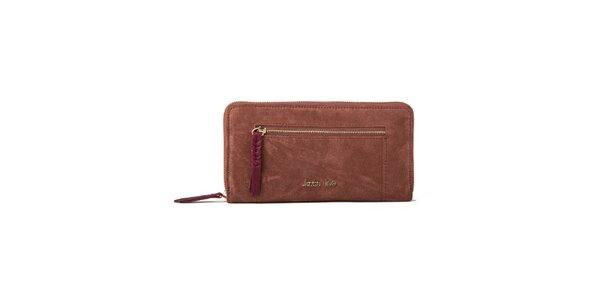 Dámska červenohnedá peňaženka so zipsovým vreckom Kate Lee