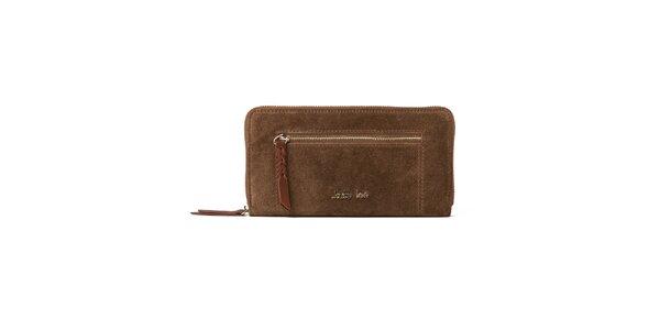 Dámska hnedá peňaženka so zipsovým vreckom Kate Lee