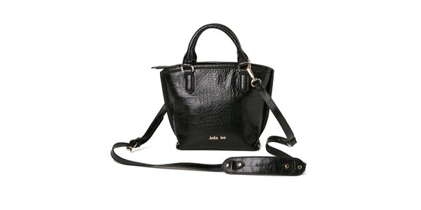 Dámska čierna kabelka so vzorom krokodílej kože Kate Lee