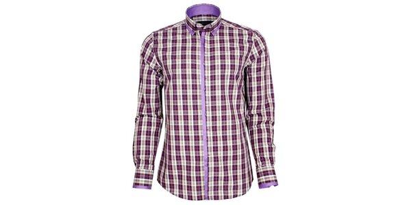 Pánska fialovo kockovaná košeľa Brazzi